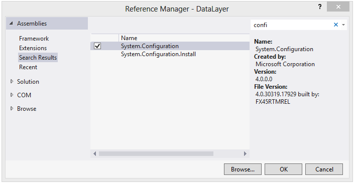 Add reference of System.Configuration in Class Library