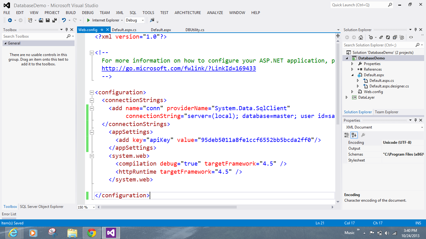 AppSettings in Web.config file